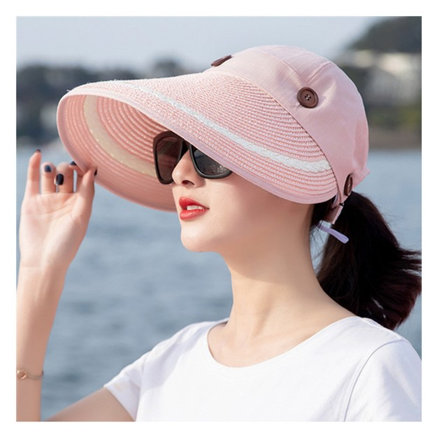 Product Detail - TIMESWOOD Detachable Empty Top Hat Visor Outdoor Big Beach Hat Summer Sun Hat Leather Pink 1PC - image 0