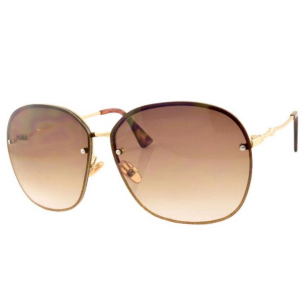 Product Detail - RETRO POP Fashion Sunglasses 8107 Gold Frame/Brown Lens - image 0