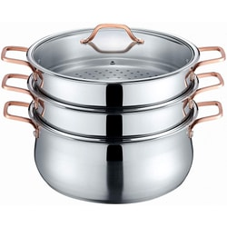 26cm 304 Stainless Steel 3 Tier Steamer Steaming Pot 4pcs INDUCTION COMPATIBLE