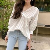 【韩国直邮】CHERRYKOKO 竖条纹V领衬衫 白色 均码