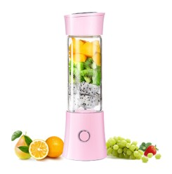 TIMESWOOD 480ml Blender Mixer Portable Mini Juicer Juice Machine Smoothie Maker Small Juice Extractor Pink 1pc
