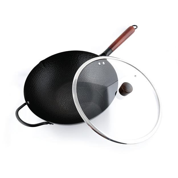 商品详情 - 美国NARITA 无涂层锤纹铁锅家用炒锅 含有玻璃锅盖 34cm NW-234 电磁炉适用 - image  0