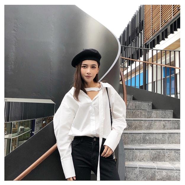 商品详情 - MOIS 两穿法胸前绑带蓬蓬袖v领衬衫 白色 S - image  0