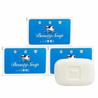日本COW牛乳石鹼共进社 保湿牛乳精华沐浴皂 (蓝色清爽型) 6连装 810g
