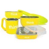 美国THINKBABY辛克宝贝 不锈钢儿童餐具套装宝宝餐碗 / 4件套--黄色