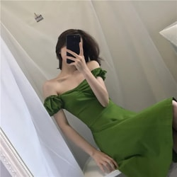 MOMO & MOLLY Summer Retro Temperament Slim Dress Fruit-green One-size