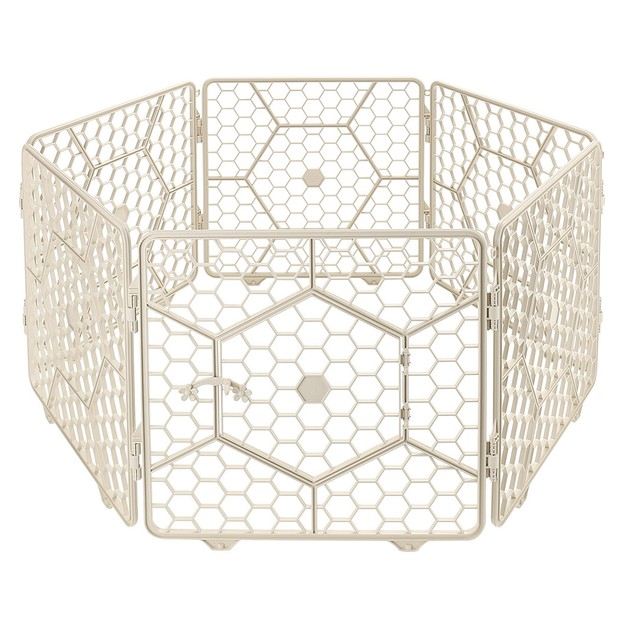 Product Detail - 8-Panel Plastic Customizable Pet Playpen Exercise Fence Cage - (Ivory) - image 0
