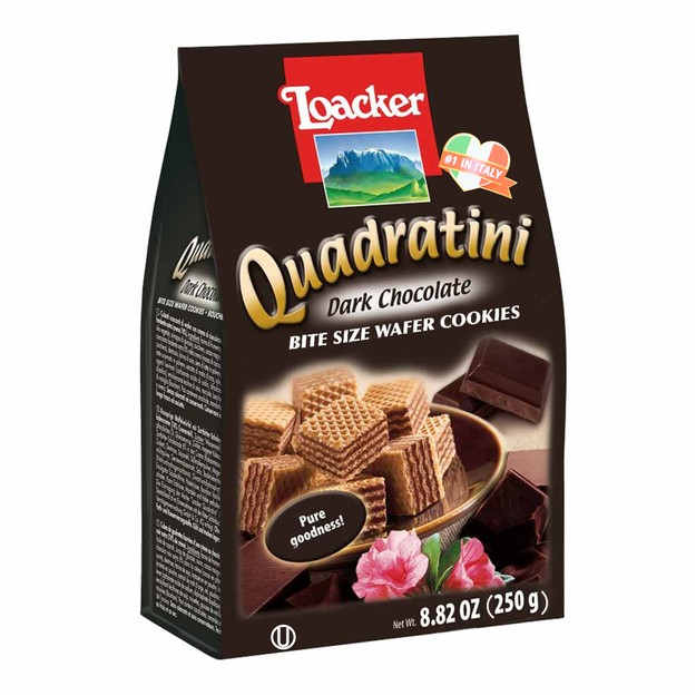 LOACKER Quadratini Bite Size Wafer Cookies Chocolate Flavor 250g
