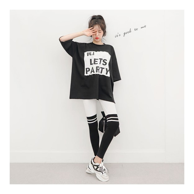 SSUMPARTY Oversized Patchwork T-Shirt+Color-Block Leggings #Black One Size(S-M)