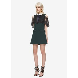 SELF-PORTRAIT Lace Cape Mini Dress Dark Green UK6