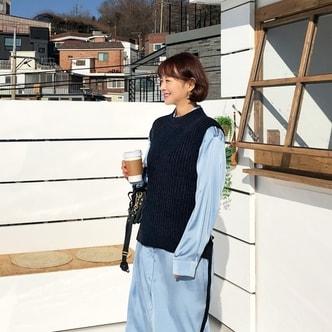 【韩国直邮】IMVELY 韩国优雅后系带针织马甲 深蓝色 均码