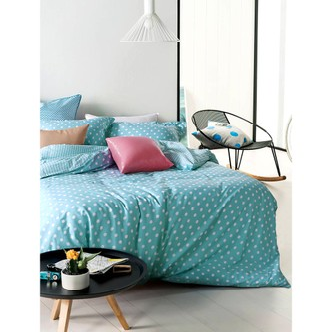 QBEDDING Dots and Stripes 100% Cotton Duvet Cover Set #Lagoon Blue Queen Size