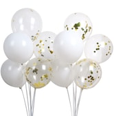 PUTWO LAttLiv Balloon for Birthday Wedding Graduation Party Christmas Baby Shower - Matte White & Gold