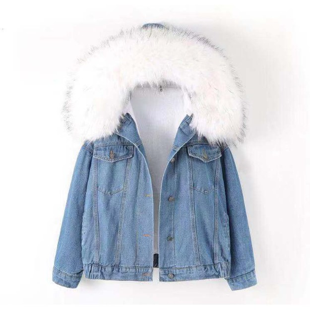 Product Detail - China Direct Mail JANE NA 2019 Winter Collar Women\'s Denim Jacket Pink # 1 Piece - image 0