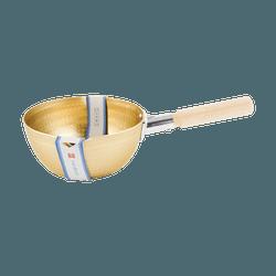 【日剧同款雪平锅】日本北陆HOKUA 小伝具 锤目纹 邵和复古金色 雪平锅18cm 1.6L 防烫木柄 煎炸煲煮 日本制造