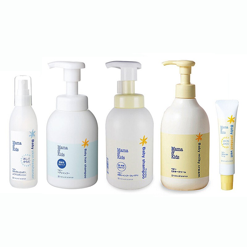 Yamibuy.com:Customer reviews:MAMA & KIDS baby hair shampoo+baby face and body shampoo+baby milky cream 310g+skin freshener 180ml+protect veil 18g
