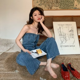 PRINSTORY 2019 Spring/Summer Off-shoulder Denim Jumpsuit Blue/M