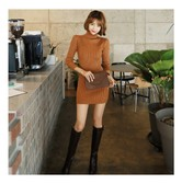 MAGZERO [Limited Quantity Sale] Turtelneck Ribbed Knit Bodycon Mini Dress Camel One Size(S-M)