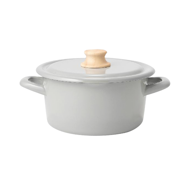 商品详情 - FUJIHORO||Cotton 简约防粘搪瓷炖锅||浅灰色 18cm 1个 - image  0