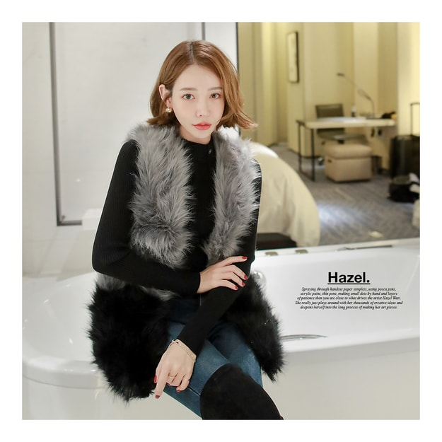 Product Detail - MAGZERO Color-Block Faux Fur Vest #Dark Grey&Black One Size(Free) [Free Shipping] - image 0