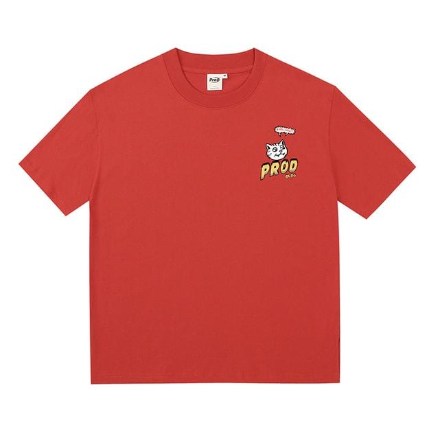 商品详情 - 漫画猫宽松薄款短袖T恤 红色 - M - image  0
