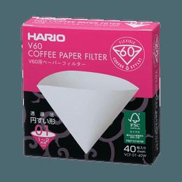 HARIO||圆锥形咖啡滤纸V60||01W 40张