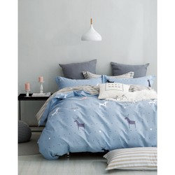 Mercury 100% Cotton Blue Deer Twin / TwinXL 3 Piece Bedding set