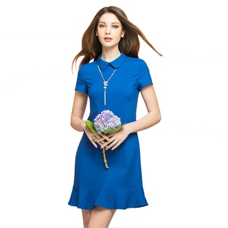 BIRRYSHOP修身短袖衬衫领荷叶摆针织连衣裙 蓝 XL