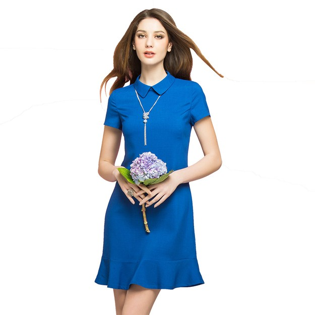 Product Detail - BIRRYSHOP fitted short sleeves shirt collar ruffle bottom knit dress Blue S - image 0