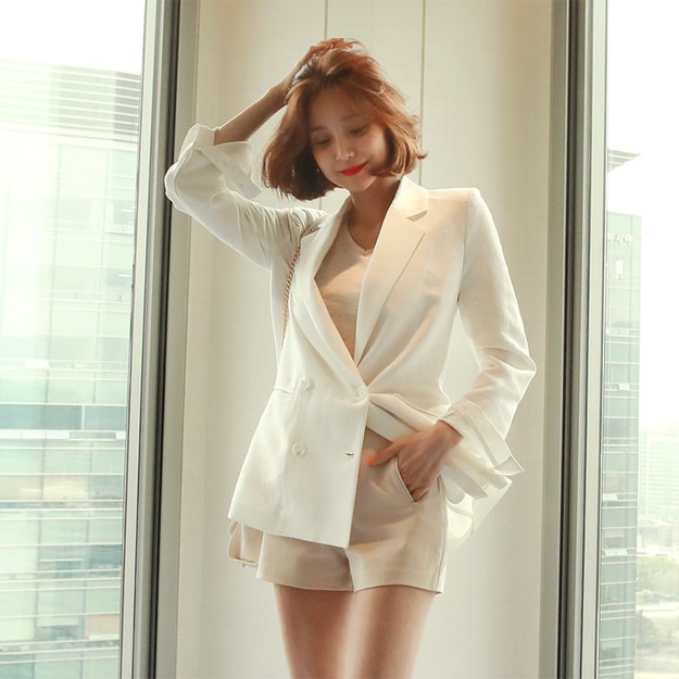 Product Detail - WINGS Double Breasted Linen Blend Blazer #Ivory M(38) - image 0
