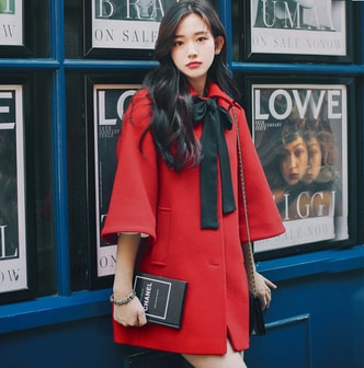 PRINSTORY 2018 Fall/winter Sweet Wide Bow-tie Coat Red/L