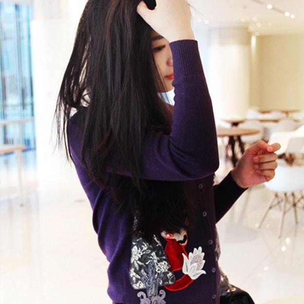 商品详情 - 独角定制 紫色绣花羊毛毛衣开衫 S - image  0