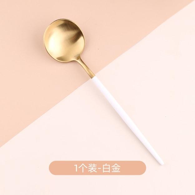 商品详情 - 买五送一 中国直邮北欧轻奢长柄汤勺子家用不锈钢吃饭网红创意韩式可爱 白金一只 - image  0