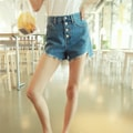WINGS High Rise Cut Off Button-Fly Denim Shorts #Dark Blue S(24-25)