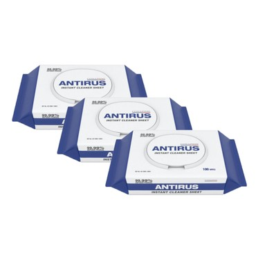 [Combo] Korean ANTIRUS Instant Cleaner Sheet Kill Virus & Bacterial 99.9% 100 wipes  x 3 bags