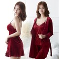 9COLORS Gold velvet water soluble flower lace four-piece pajamas set (Bathrobe & Sling Top & Pants & Skirt). Red M code