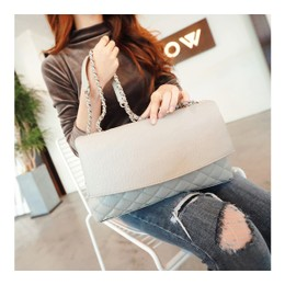 KOREA MAGZERO Quilted Chain Shoulder Bag #Grey Faux Leather [Free Shipping]