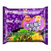 台湾统一 满意100 老坛酸菜牛肉面 袋装 119g