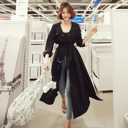 WINGS Side Slit Collarless Trench Coat #Black One Size(Free)