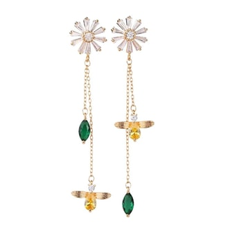ARIEL Sterling Silver yellow and green Chrystal floral earrings