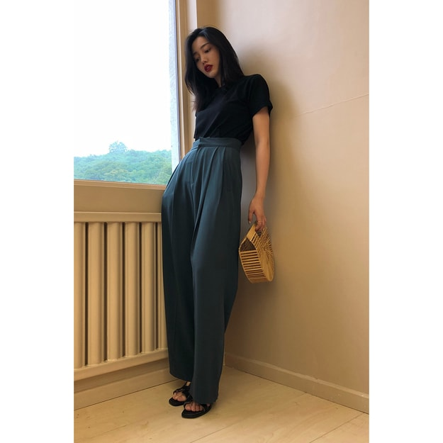 Product Detail - PRINSTORY 2019 Spring/Summer High-waist Wide Pants Green/L - image 0