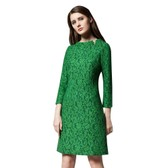 BIRRYSHOP   Lace long sleeve dress   green  XXL