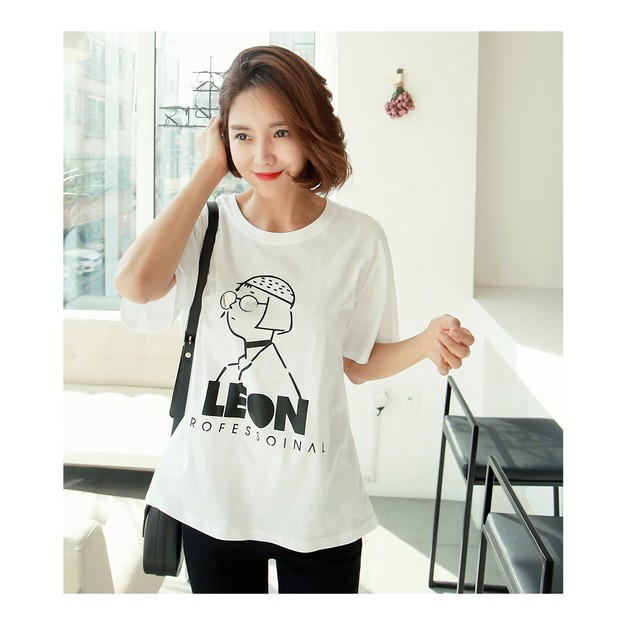 Product Detail - KOREA MAGZERO Leon Drawing T-Shirt #White One Size(S-M) [Free Shipping] - image 0