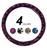 LORDUPHOLD 4Colors Cute Car Steering Wheel Cover 38cm With Flowers Car Accessories For Girls Women Purple 1 pcs