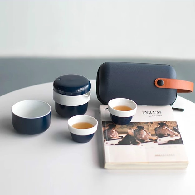 "2021LIFE ""Chai Everywhere"" Portable Travel Teacups Set- Indigo"