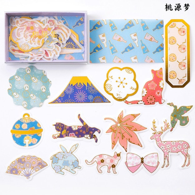 Product Detail - SUGARSHOP Gold-stamped hand-book stickers Dream of the Land of Peach Blossoms 80g - image 0