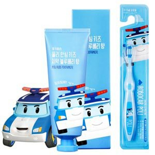 Product Detail - DAENGGIMEORI Poli Kids Toothpaste for children 100g (Blueberry) + Toothbrush - image 0