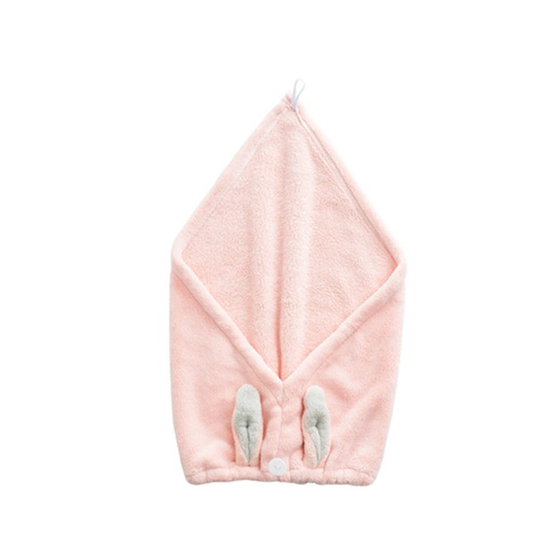 TIMESWOOD Cute Rabbit Ears Coral Fleece Hair Cap Shower Cap Hair Wiping Hair Quick Dry Towel Pink 1PC