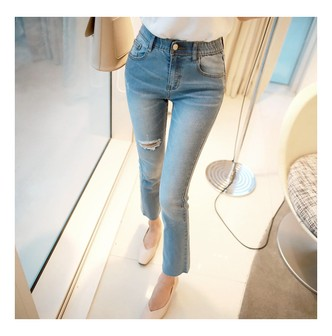 MAGZERO [2018 S/S New] Mid-High Rise Straight Crop Jeans with Elastic Waistband #Blue M(27-28)
