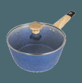 CONCORD Art of Cooking 3Qt. 花岗岩不粘涂层铸铝锅 含玻璃盖 电磁炉适用 #蓝色
